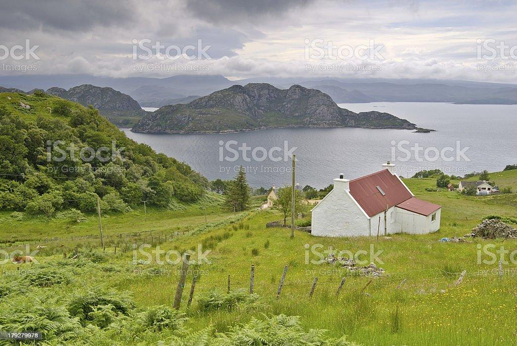 Croft above Loch Torridon stock photo