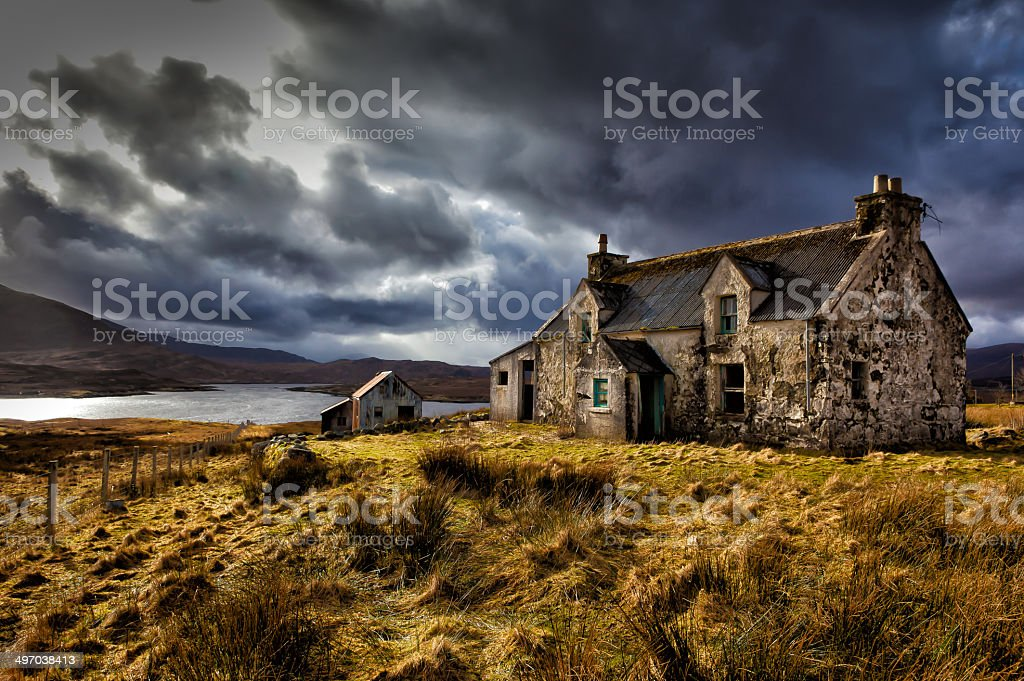 Crofters Cottage Outer Hebrides stock photo