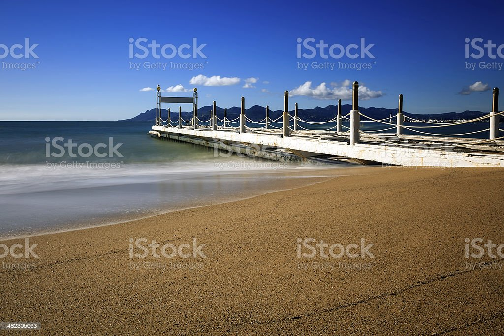 Croisette beach in Cannes stock photo