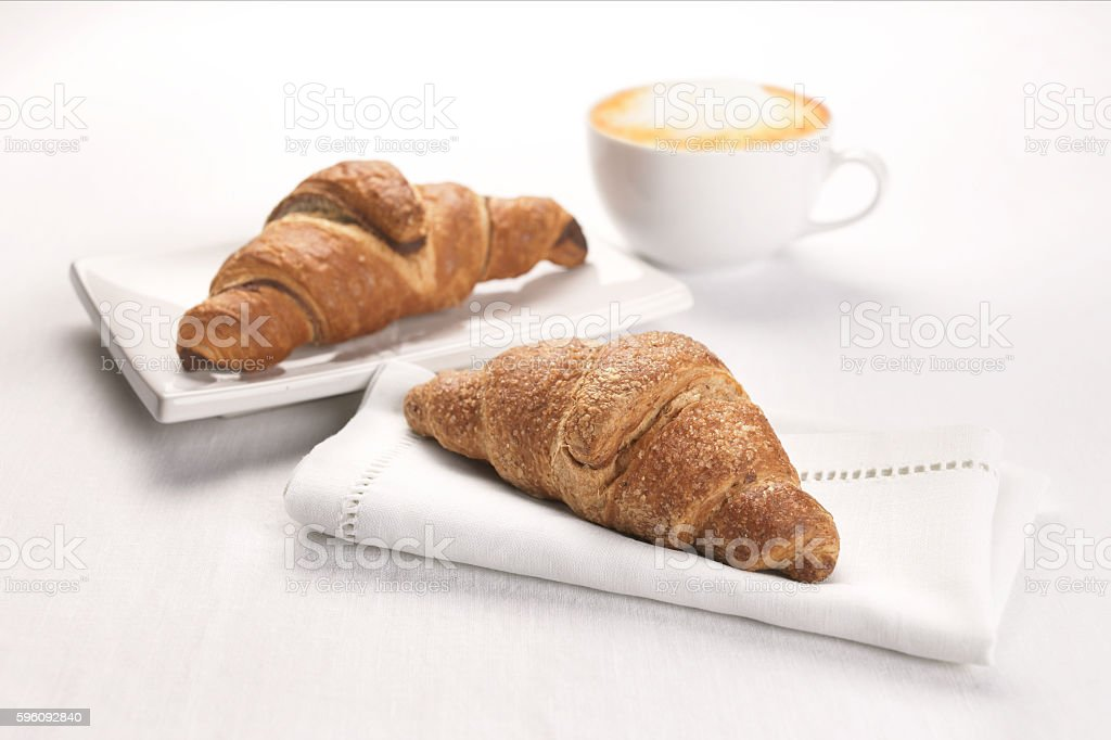 croissant and cappuccino royalty-free stock photo