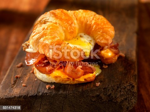 Croissant Breakfast Sandwich with Bacon,egg and Cheese - Photographed on Hasselblad H3D2-39mb Camera