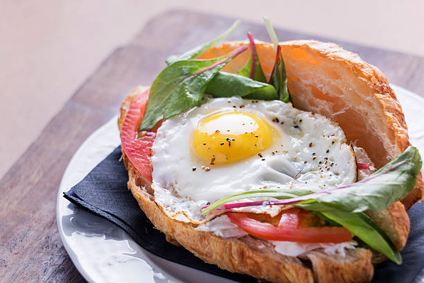 Croissant Breakfast Sandwich with egg stock photo