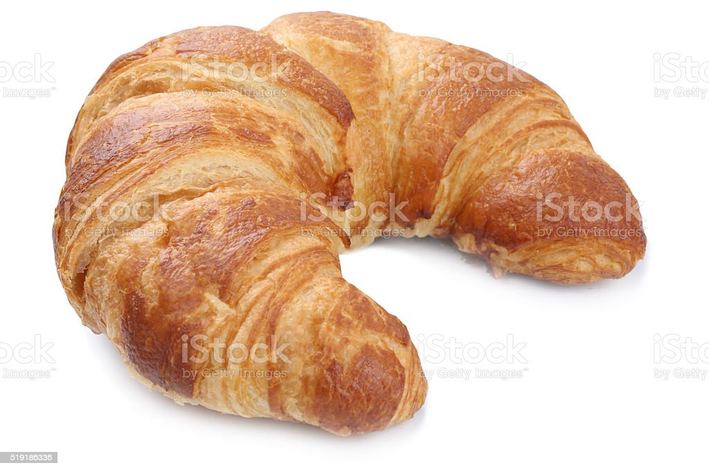 Croissant for breakfast isolated stock photo