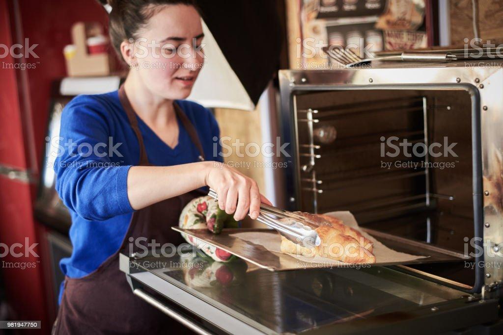Croissant lächelnd Baker – Foto