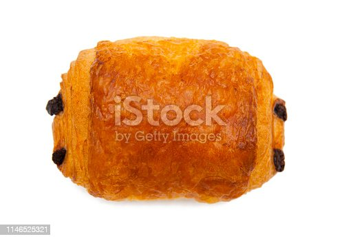 Croissant with chocolate isolated on white background