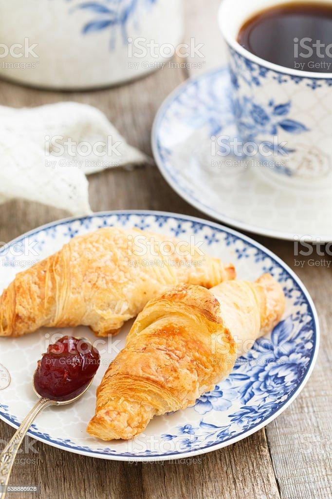 Croissants for breakfast stock photo
