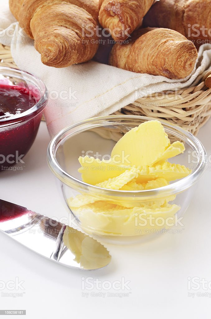 Croissants, jam and butter royalty-free stock photo
