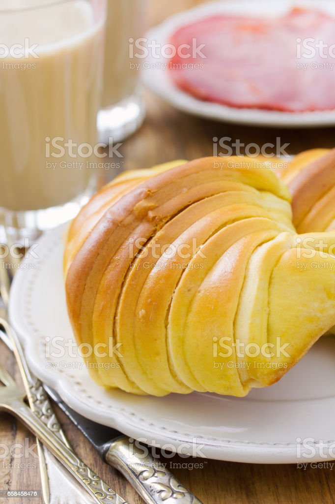 croissants on plate and coffee with milk stock photo
