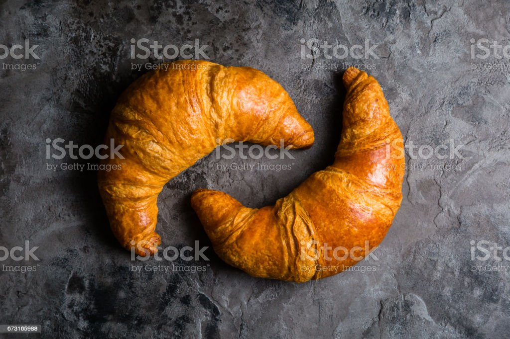 Croissants On Rustic Stone Background Royalty Free Stock Photo