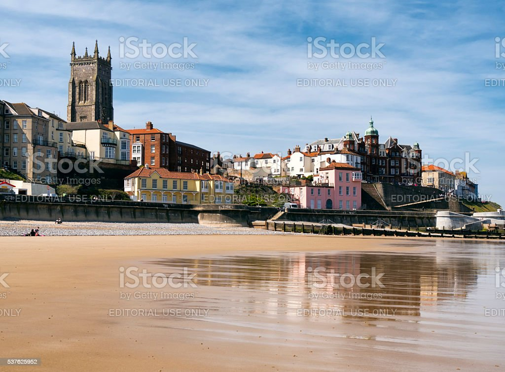 Cromer and the promenade from the beach stock photo