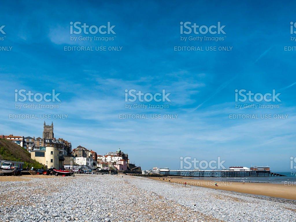 Cromer beach with blue sky stock photo