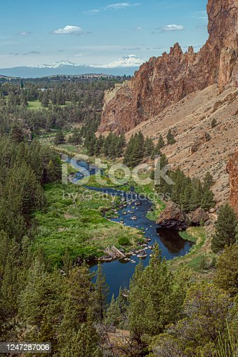 Vertical image of the Crooked River as it winds through the tuff cliffs of Smith Rock State Park on a sunny day