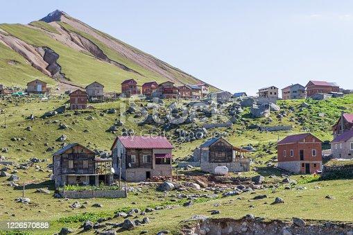 Crooked structured highland houses. Landscape photo was taken in Çamlıhemşin, Rize, Black Sea / Karadeniz region of Turkey.