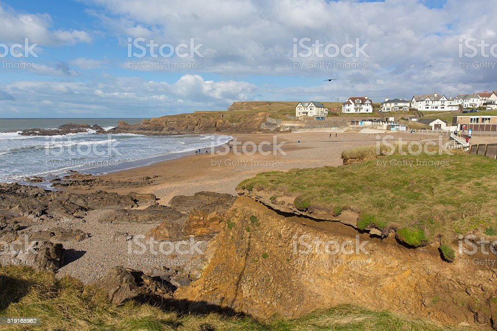 Crooklets beach Bude North Cornwall UK near the Cornish town stock photo