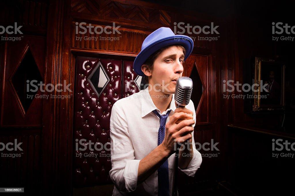 Crooning Lounge Singer stock photo