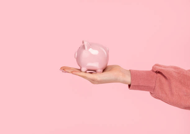 Crop hand with piggy bank stock photo