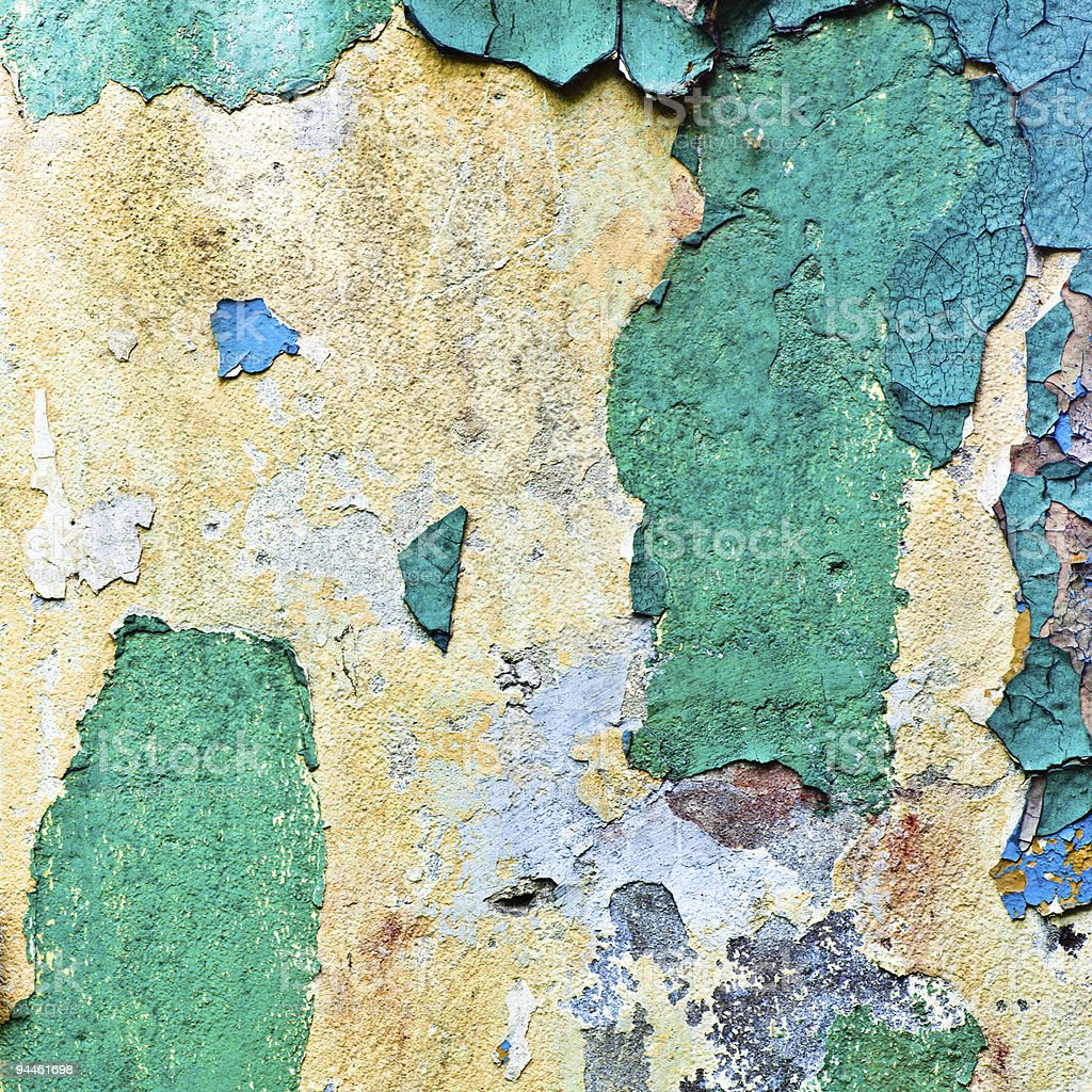 crop of old multicolours wall (azure, brown, blue) royalty-free stock photo