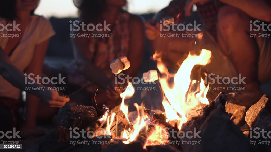 Crop people grilling marshmallows in fire stock photo