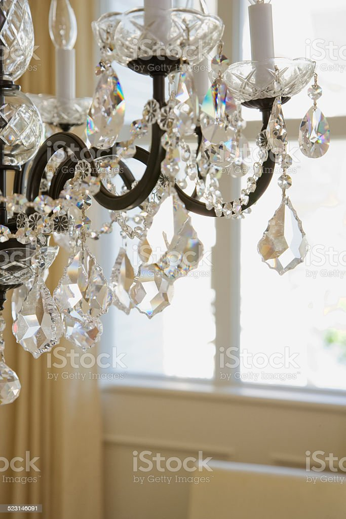 Cropped chandelier, close-up stock photo