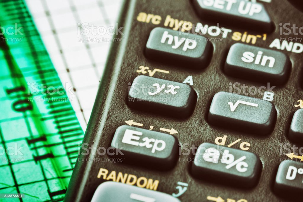 Cropped close up of scientific calculator keys stock photo
