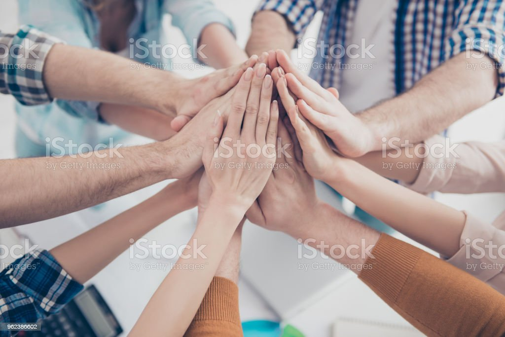Cropped Close Up Portrait Of Business Peoples Palms Clasped Together