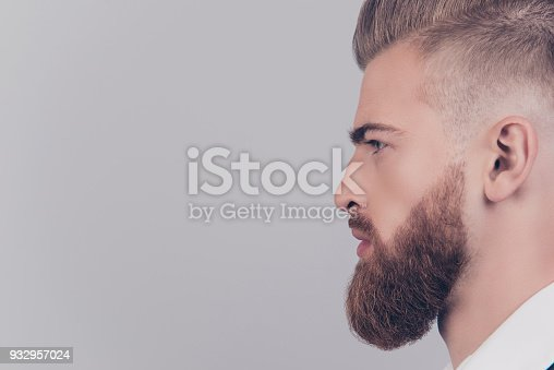 932956896istockphoto Cropped close up view half-faced portrait of serious proud posh elegant masculine with flawless skin groomed beard freelancer looking aside copyspace empty blank place isolated on gray background 932957024