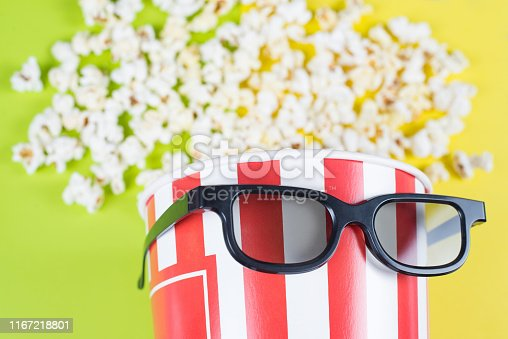 956942702 istock photo Cropped closeup photo of funny comic paper bucket wearing black trend fashionable modern specs having cool hairdo isolated bright background 1167218801