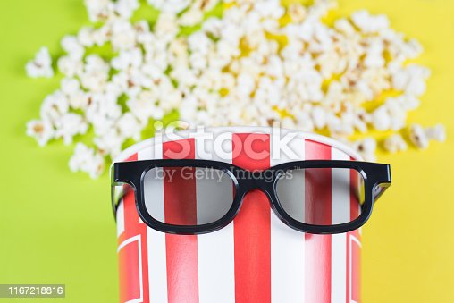 956942702 istock photo Cropped closeup photo of funny comic paper bucket wearing black trend fashionable modern specs having cool hairdo isolated bright background 1167218816