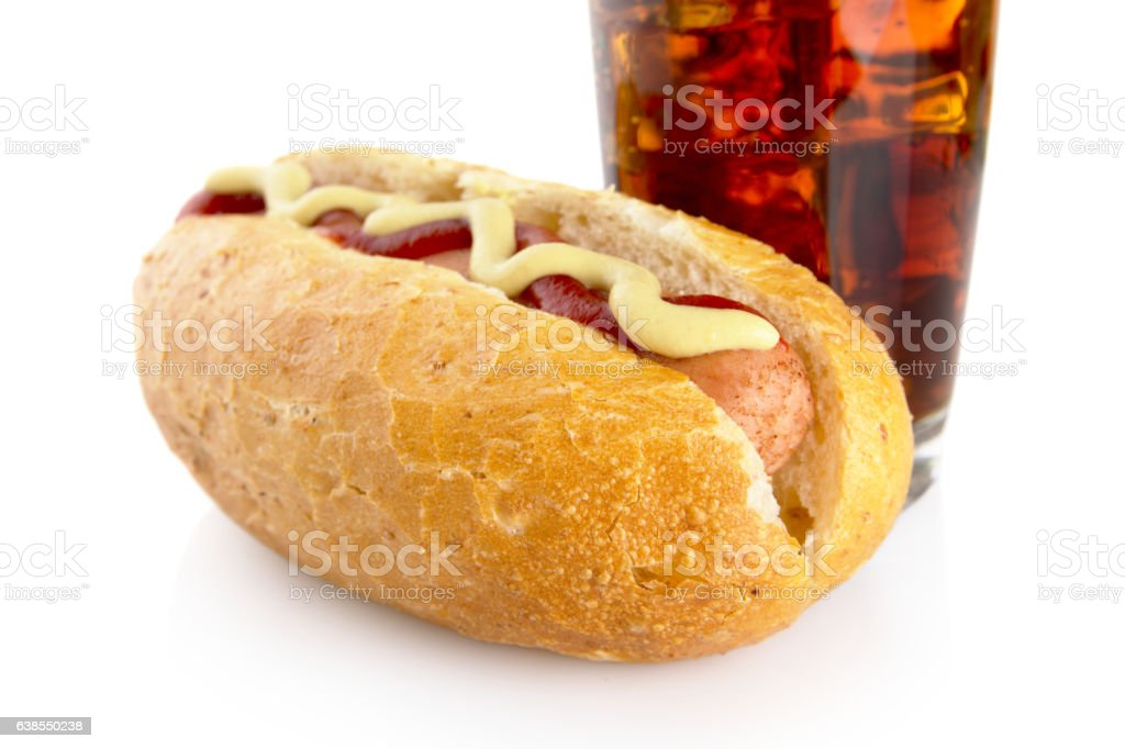 Cropped hot dog with mustard, ketchup and cola isolated stock photo