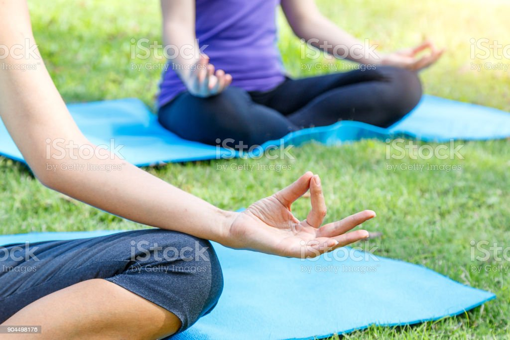 Cropped Image Group Of Young Woman Meditating In A Yoga On ...