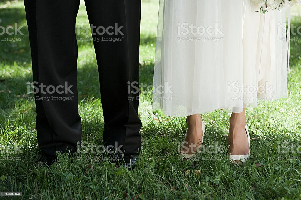 Cropped image of a bride and groom royalty-free 스톡 사진