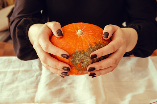istock Cropped image of a woman holding a pumpkin in her hands 1189299640