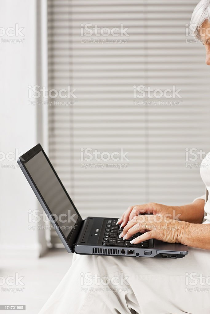 Cropped image of a woman working on laptop royalty-free stock photo