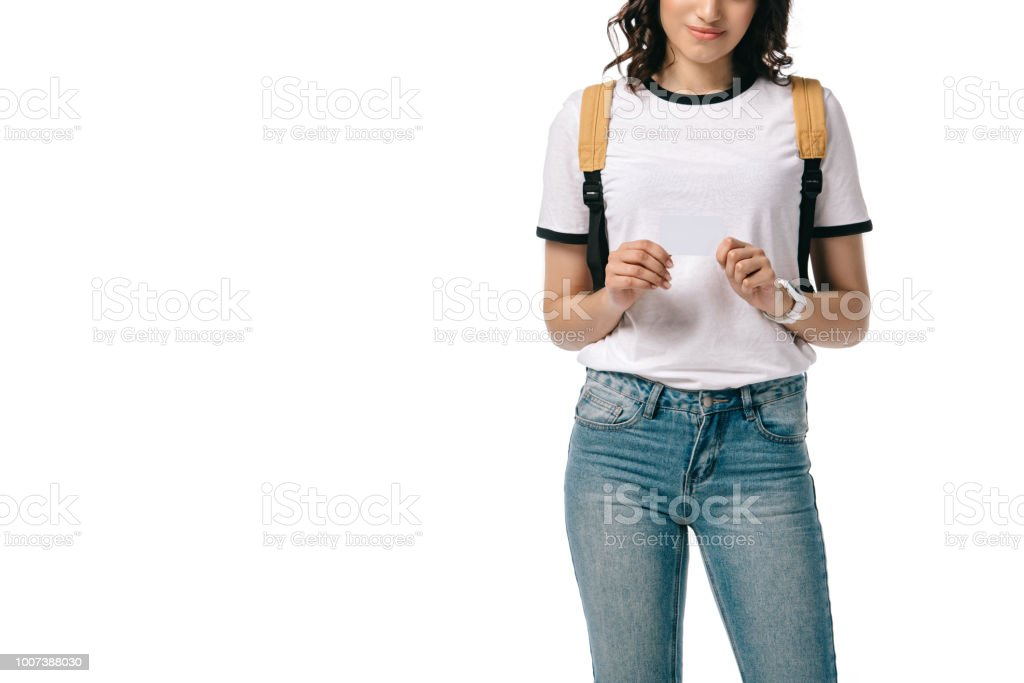 cropped image of african american teen student holding empty board isolated on white stock photo