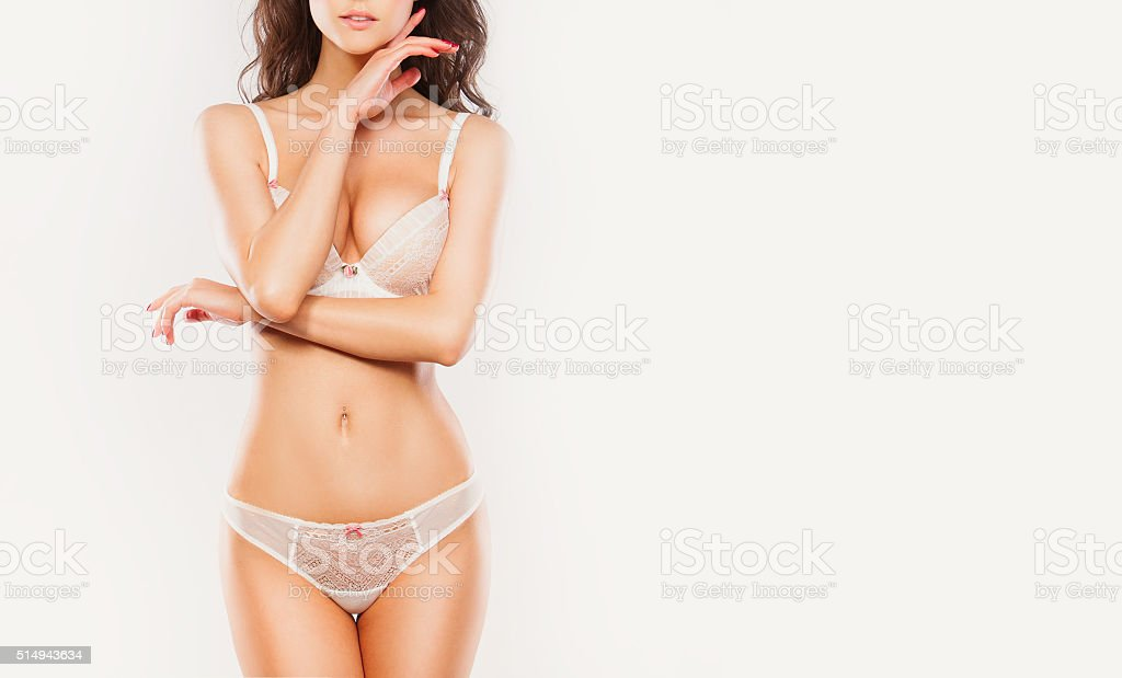 Cropped image of beautiful young woman with perfect, slim body stock photo