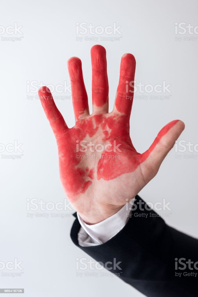 cropped image of businessman showing hand in blood isolated on white royalty-free stock photo
