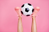 Cropped image view photo of nice cool girlish fit thin slim legs cozy comfort zone footgear lifestyle rest relax white black ball weekend isolated over pink pastel background