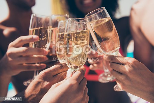 Cropped photo of many people, hanging out clink glasses with champagne