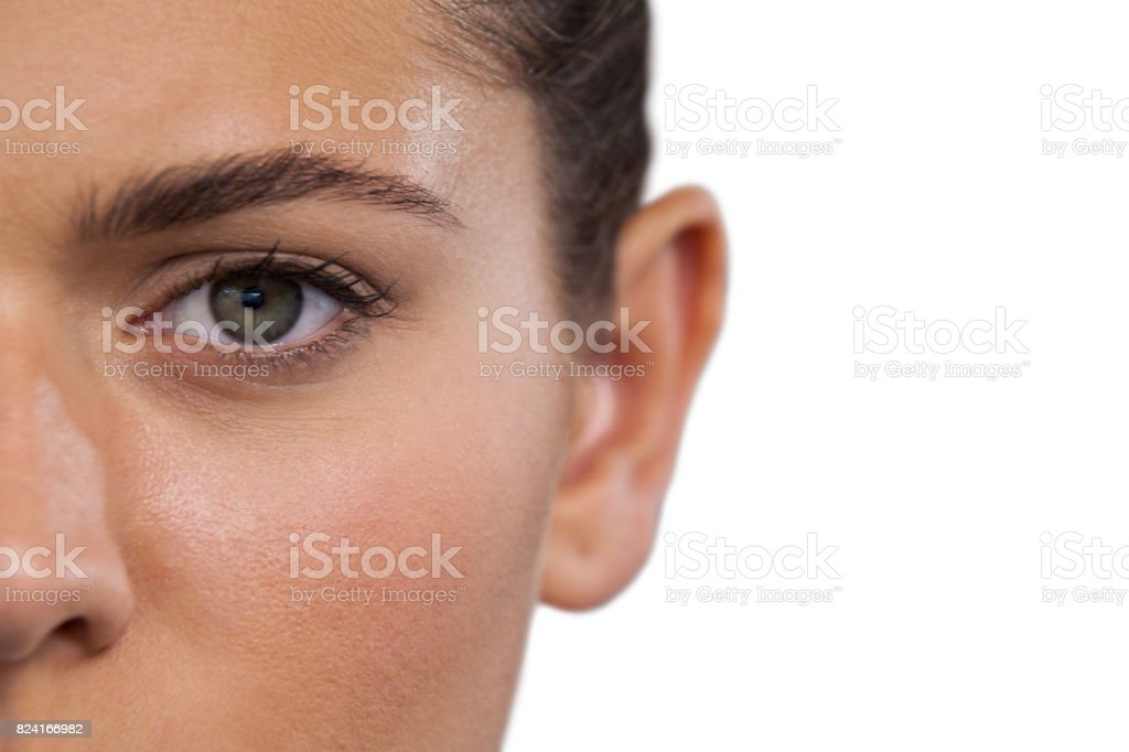 Cropped portrait of young woman stock photo