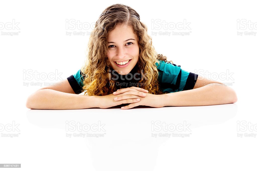 Cropped portrtait of cute curly-haired young blonde stock photo