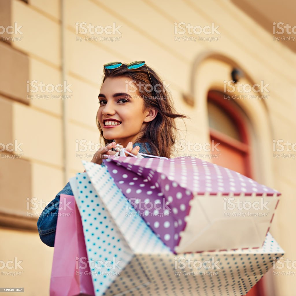 I'm always smiling when I'm shopping royalty-free stock photo