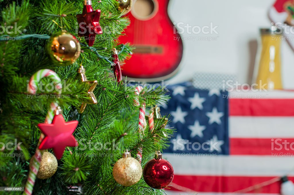 Cropped shot of a beautifully decorated Christmas tree stock photo