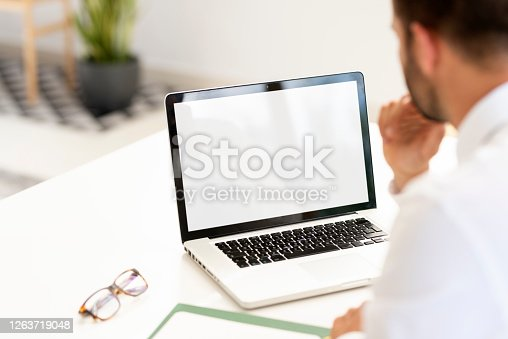 Rear view shot of a businessman using notebook at his desk in an office. White fullscreen.
