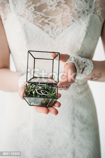 Cropped Shot Of Bride In White Dress With Wedding Rings In Box In Hands Stock Photo & More Pictures of Adult