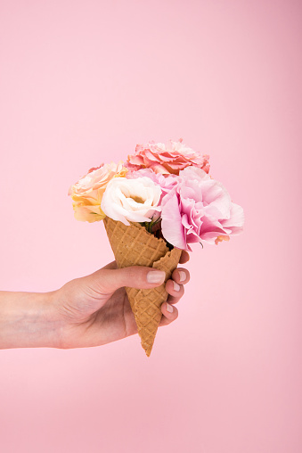 istock Cropped shot of person holding waffle cone with beautiful blooming flowers isolated on pink 815008328