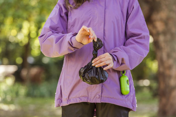 cropped shot of young woman holding trash bag while cleaning after pet in park cropped shot of young woman holding trash bag while cleaning after pet in park poop stock pictures, royalty-free photos & images