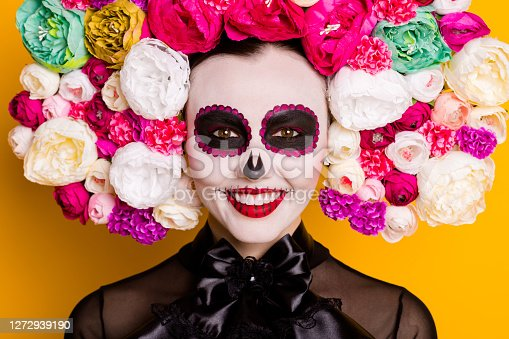 Cropped view close-up portrait of her she nice glamorous beautiful cheerful cheery, lady character calavera Santa Muerte festive visage isolated bright vivid shine vibrant yellow color background