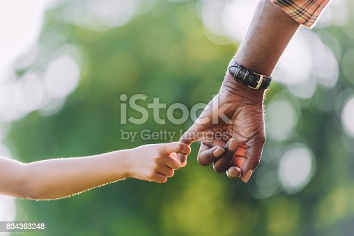 istock cropped view of african american grandfather holding hands with little granddaughter 834363248