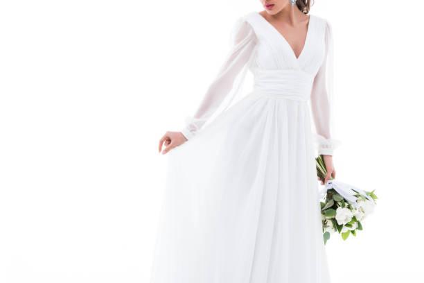 vestido de novia con motivo floral - stock fotos e imágenes - istock