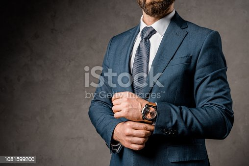1081599130 istock photo cropped view of businessman in formalwear with watch on hand 1081599200